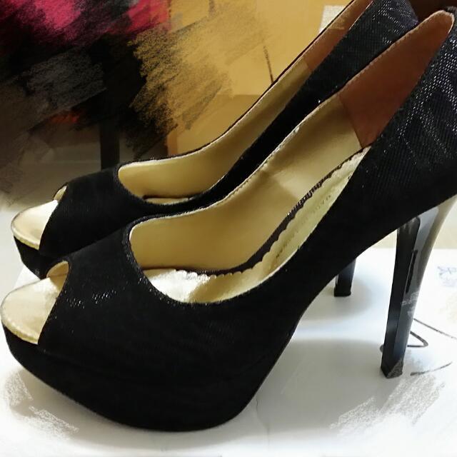 黑色魚口高跟鞋