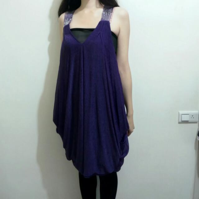 (保留)紫色亮片雪紡洋裝