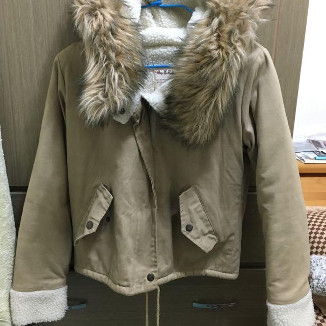 毛帽子保暖外套