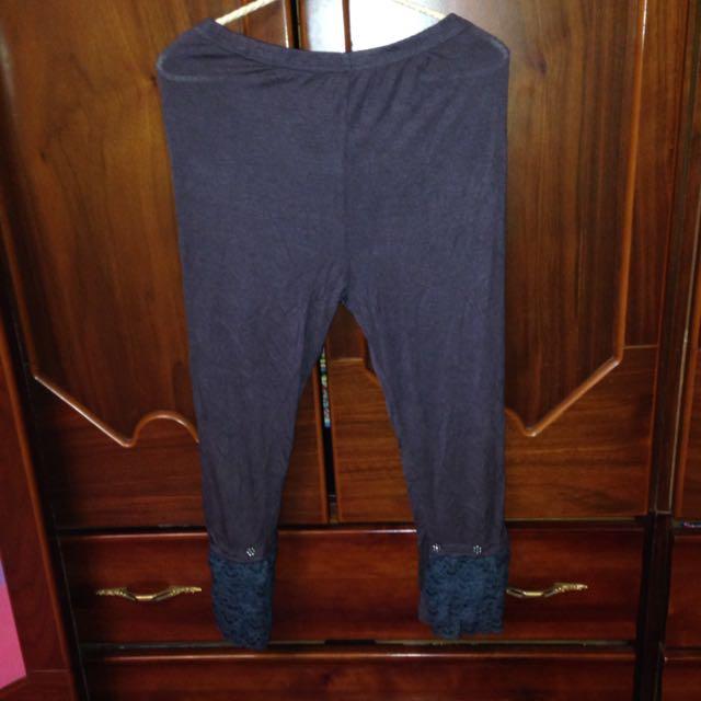 深灰 蕾絲花鑽飾彈性內搭褲