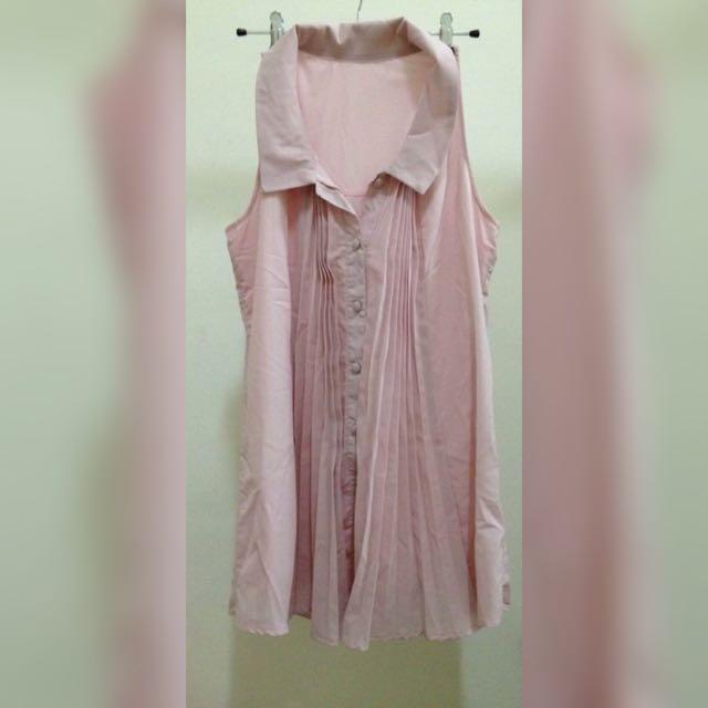 全新 粉色背心洋裝