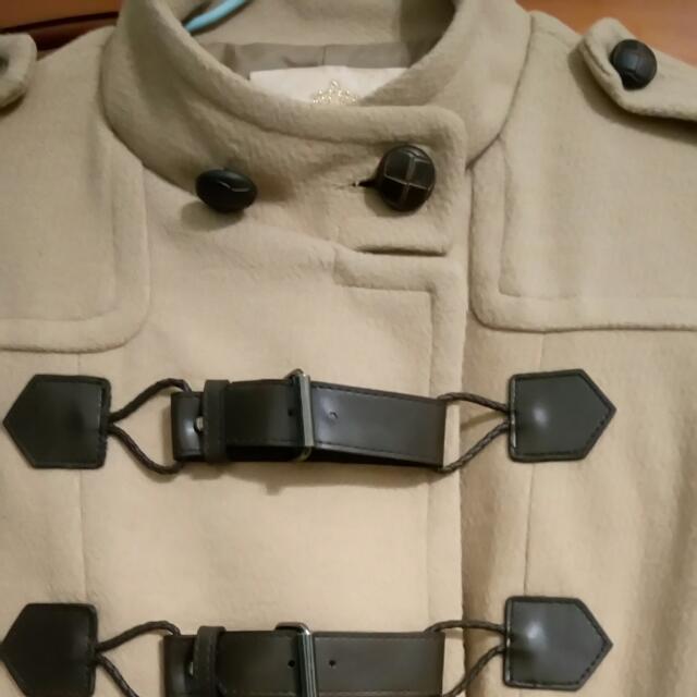 韓版 皮扣大衣