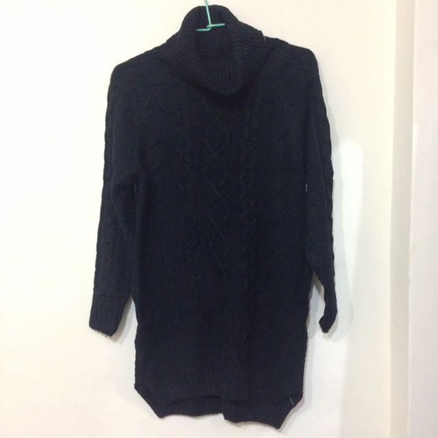 [全新]黑 高領 長版毛衣