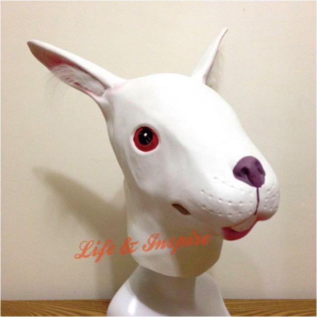 創意搞怪白兔子頭套面具 動物面罩 整人萬聖節派對道具 鹿頭 白馬 牛頭馬面