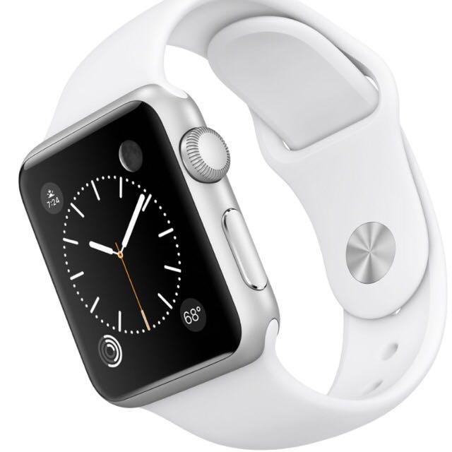 premium selection 0672e 28103 BNIB Apple iwatch -38mm Silver Aluminium Case with White Sport Band.