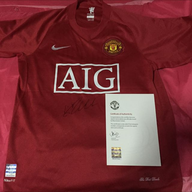 best quality 5c642 723e4 Cristiano Ronaldo Signed Man Utd Jersey, Sports on Carousell