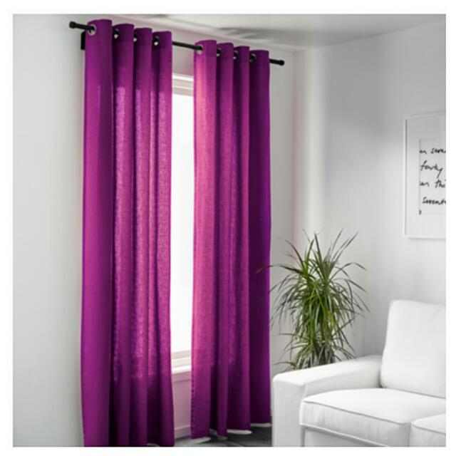 Ikea Mariam Curtains In Purple, Furniture on Carousell