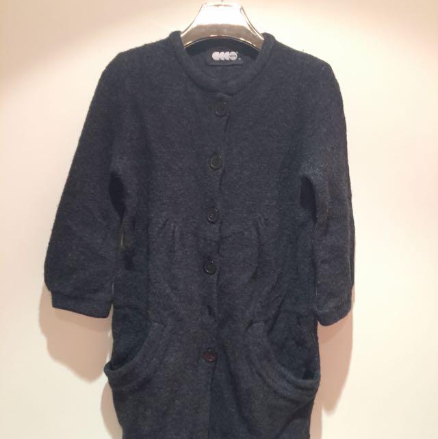 設計師品牌羊毛外套深藍色M號