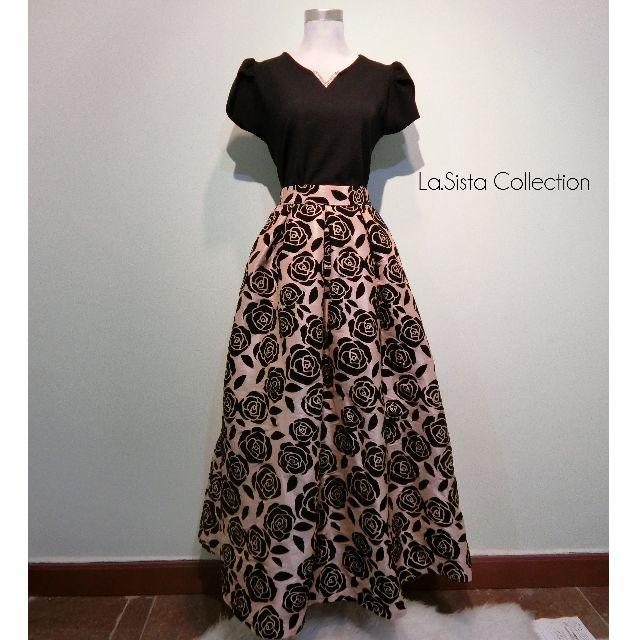 Sassy V Lacy Top - Vintage Floral Satin Long Skirt (Velvet Rose)