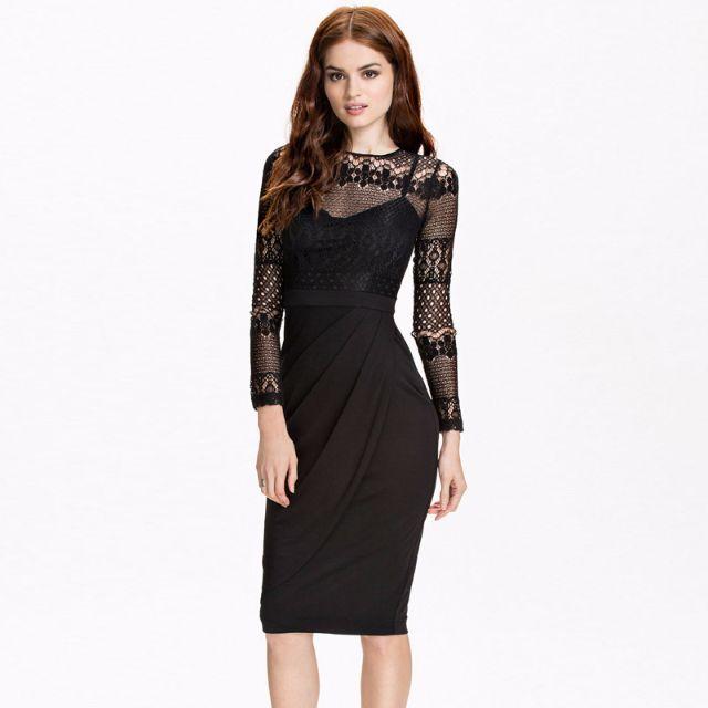 Pre Order Black Long Sleeve Ol Formal Office Bodycon Midi Dinner