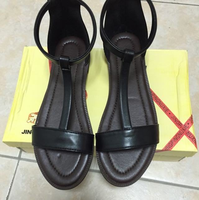 🎉歐美時尚度假風T字🎈繞踝平底羅馬涼鞋🎊