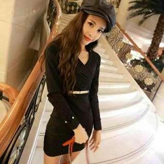 韓版新款時尚性感蕾絲拼接下擺魚尾裙長袖連衣裙 送腰帶   紅色   黑色   均碼