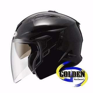 【GD佳德】半罩式安全帽 ZEUS 613B 素色 黑 (內藏墨鏡)