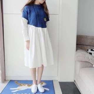 ❤️童話風藍色針織毛衣拼接百褶裙