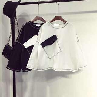 ❤️簡約黑白甲口袋寬鬆衣-2色