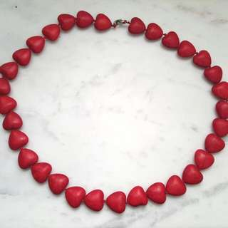 Cute Love Red Heart Beaded Necklace
