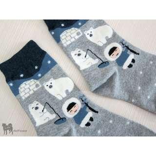韓國製 北極熊 圖案 襪 (淺灰)