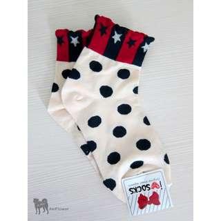 韓國製 點點 星星 圖案 女襪