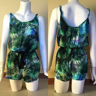 Green Fern Patterned Playsuit With Black Rope Waist Tie