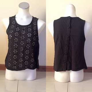 Black Top With Flower Cutouts