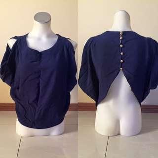 Navy Blue Shirt With Shoulder Slits & Button Up Back