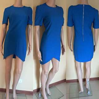 Blue Dress With Back Zipper & Lifted Front
