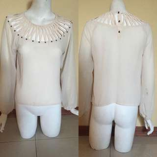 Beige Long Sleeve Chiffon Shirt With Chest Detail. Slight Stain On Arm