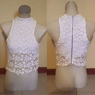White Floral Lace Muscle Crop With Zip Up Back, Great For A Festival Or Summer!