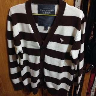 A&F咖啡色條紋毛衣 全新正品L號(含運費)