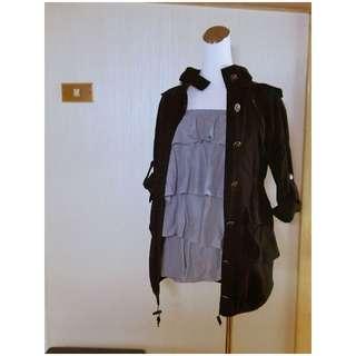 軍裝銀釦縮腰薄外套