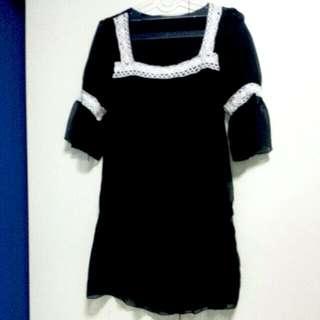 Black Boho Tunic / Dress / Baby Doll Top
