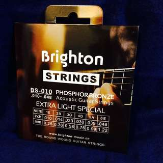 Brighton BS-10, 民謠吉他琴弦, 0.010-0.48吋, 布萊頓, 青銅色, 南韓設計