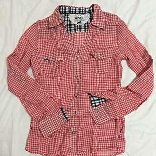 Mango - Checkered Long Sleeve Blouse (Pre-loved)