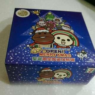 全新 7-11 小七 聖誕限定陶瓷保鮮碗(條碼貓&聖誕樹菇菇)