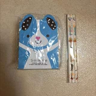 (寄賣)可愛卡通筆筒+鉛筆組