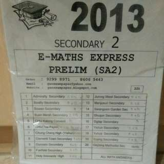 Secondary 2 Maths Prelim/SA2 Exam Papers
