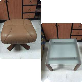 Tempered Glass Coffee Table w/ Cushioned Stool Chair