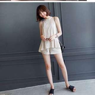 轉賣正韓麻棉材質兩件式削肩上衣+褲子 米色