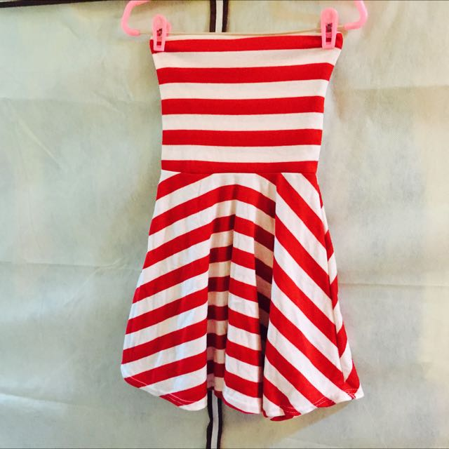 平口傘狀條紋洋裝