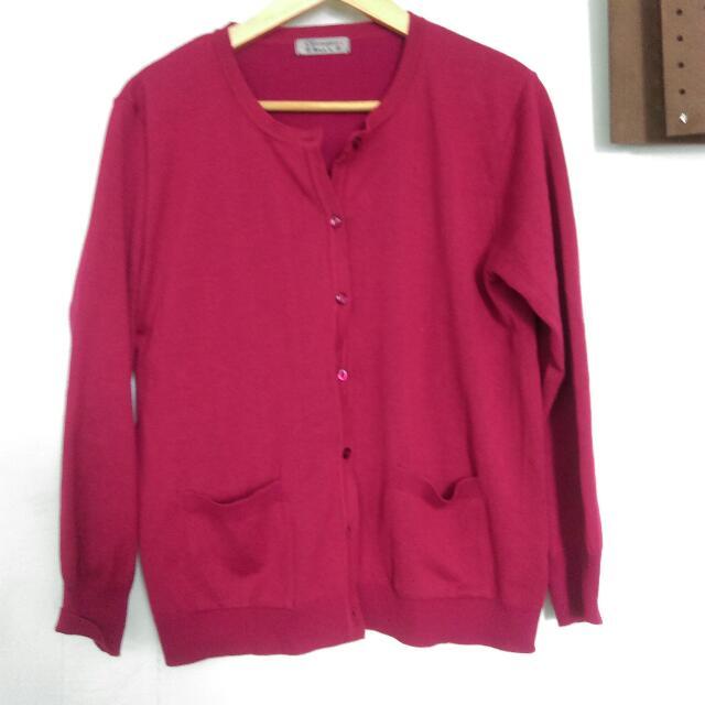 保留)玫紅色針織外套(含運!)