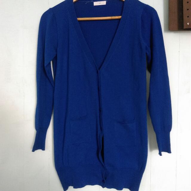 保留)含運!付郵資送你! 寶藍色長版針織外套
