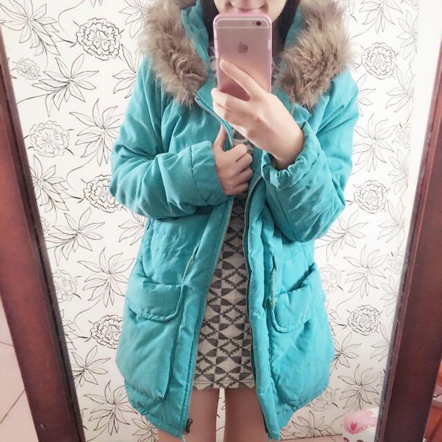 綠色連帽舖毛長大衣