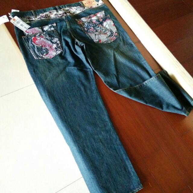 XXXXL39吋腰圍 日本豐天 鯉魚刺繡牛仔褲
