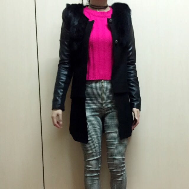 名媛 皮革袖墊肩個性大衣