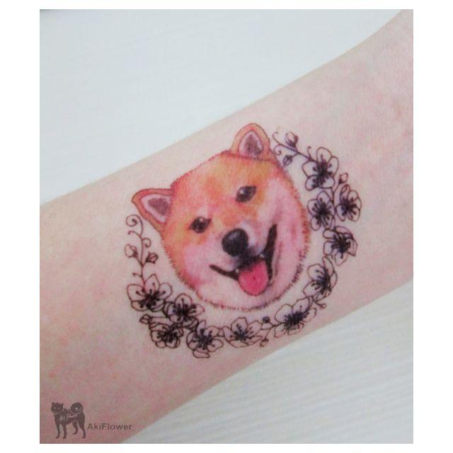 柴犬 狗狗 圖案 紋身貼紙
