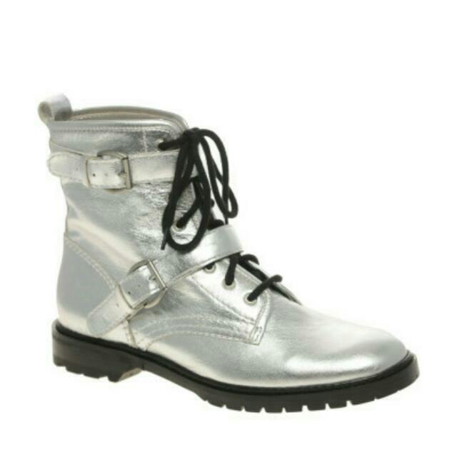 be294e0fbaf ASOS ALEXA Chunky Lace Up Metallic Leather Ankle Boot