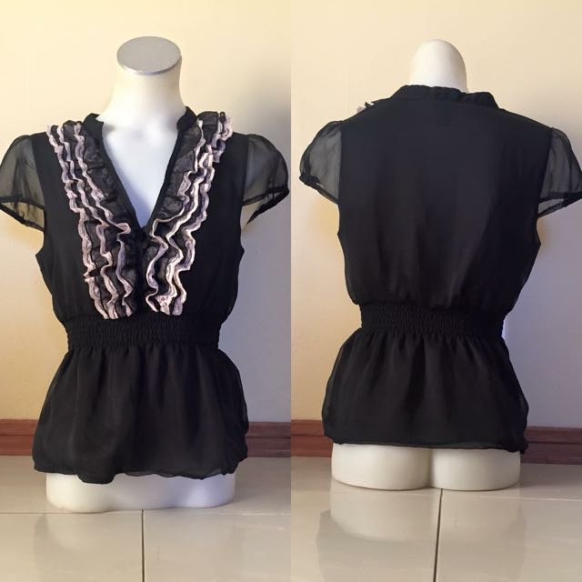 Black Chiffon Top With Cream & Black V Neck With Buttons