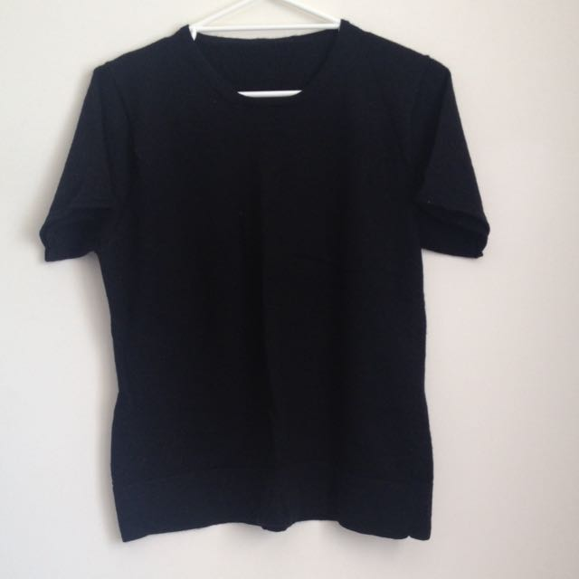 Black Short Sleeve Jumper