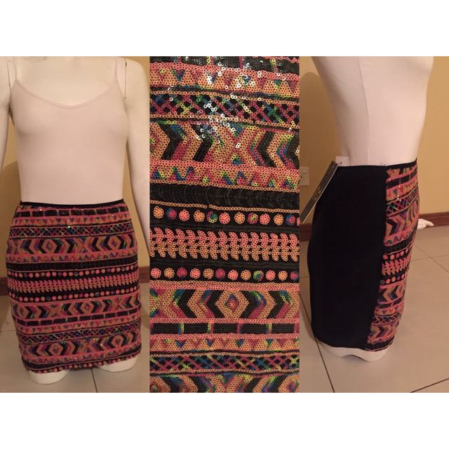 BNWT Rainbow Sequence Patterned Skirt