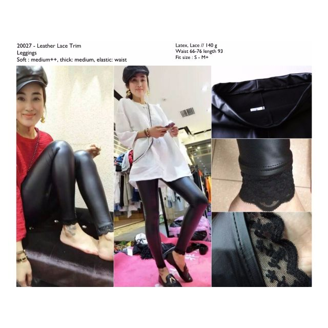 Celana Legging Kulit Hitam Leather Latex Lace Cina Korea Murah Fesyen Wanita Pakaian Wanita Bawahan Di Carousell